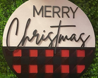 Merry Christmas front door welcome sign