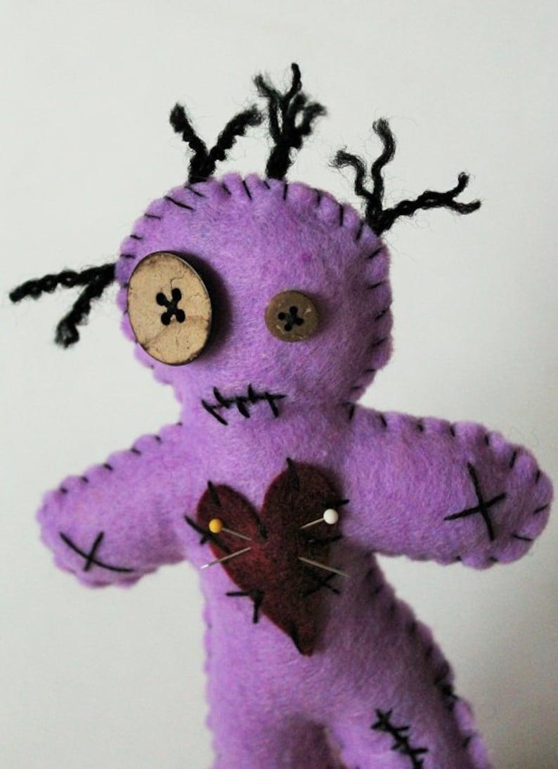 Purple VooDoo doll-Voodoo doll-Voodoo plush-Handmade felt creepy  doll-Halloween decor-Primitive decor-Dark dolls-zombie doll-Violet Doll