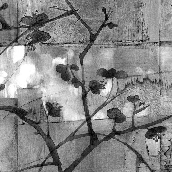 Plum Blossoms for Basho, charcoal drawing, black and white