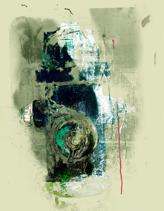 Fire hydrant, monoprint, green