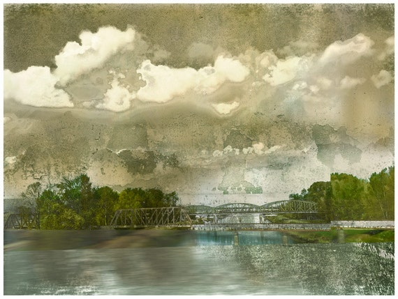 The Green Bridge,architectural, bridge landscape, limited edition, river scene, green, collage art,modern art print,architectural print