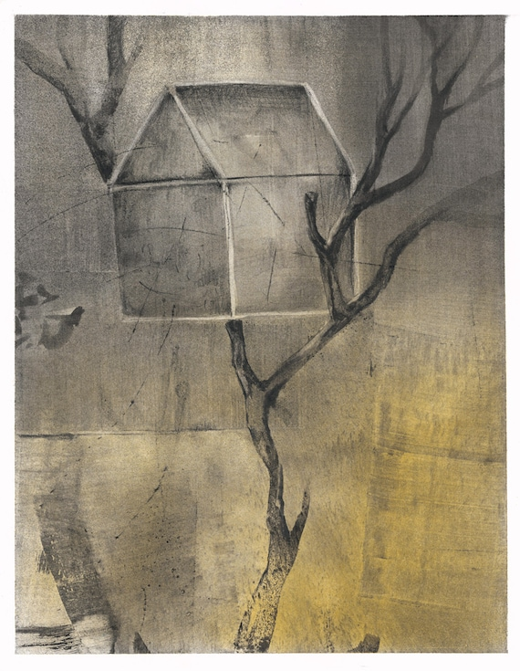 Tree House, charcoal drawing with powdered pigment