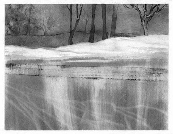 Ice Lake Revisited, charcoal drawing, black and white