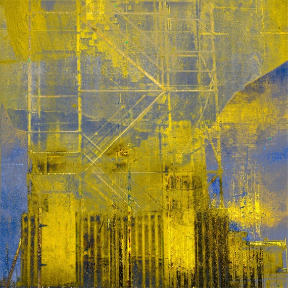 The Golden Scaffold, contemporary abstract, fine art print,