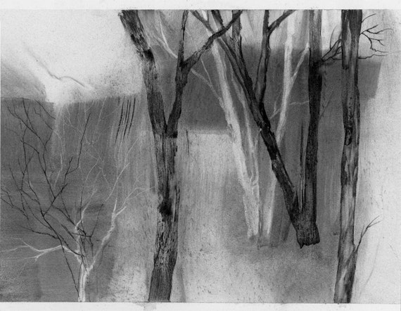 Along the Bank, remembered landscape, charcoal drawing, black and white