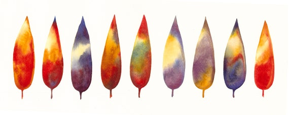 Rainbow leaves, watercolor painting, abstraction from nature