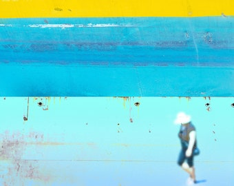 Beachwalker, archival pigment print, summerlight, abstracted landscape with figure