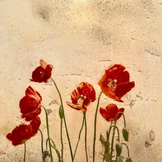 Red Poppies on Venetian Plaster, mixed media botanical art for the home