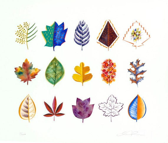 Design Leaf Painting, leaves, specimen study, watercolor art