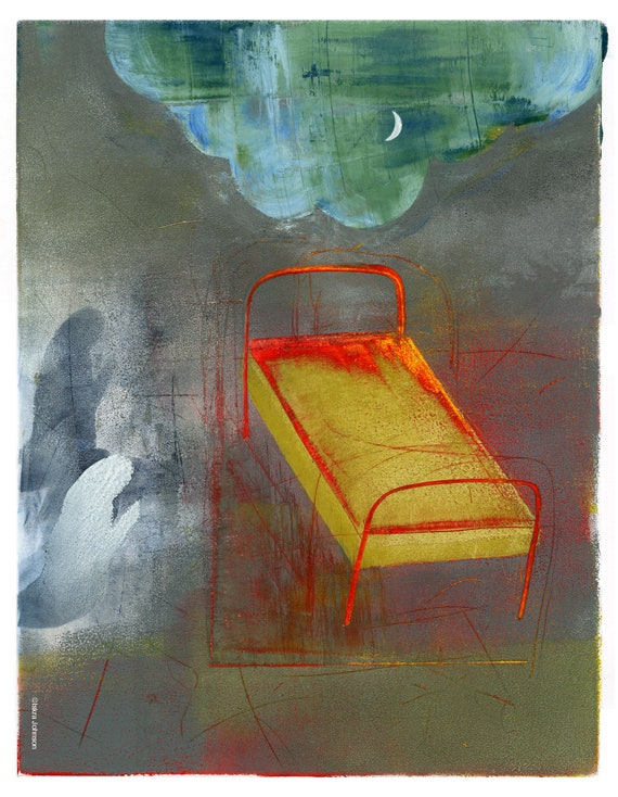 The Red Bed (Ex Voto), limited edition print from a painting by Iskra, sleep studies