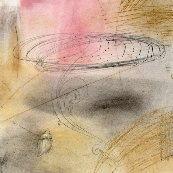 Listening to Brian Eno, mixed media on paper