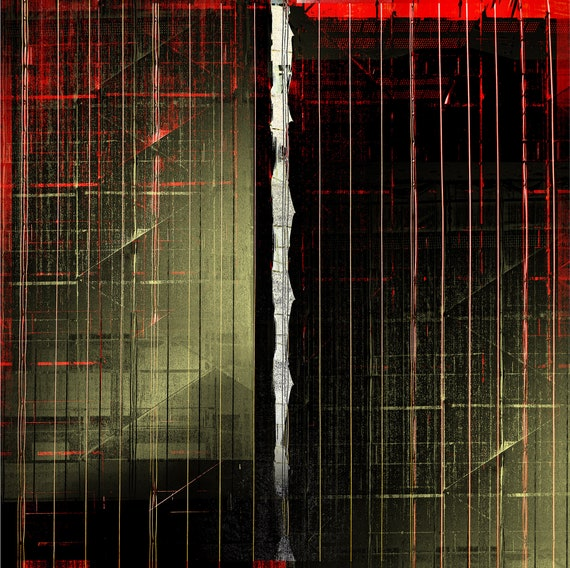 Night Scaffold, contemporary abstract, fine art print,