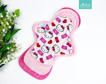 bat shape ready to ship girly goth pink reusable pad Hot pink skull 10 inch cloth pad menstrual pad regular pad witchy eco-friendly