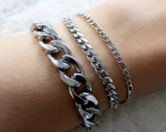 Chain Bracelets - Stainless Steel, stacking, layering, Curb Chain