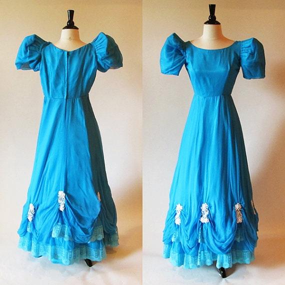 blue vintage chiffon ball gown