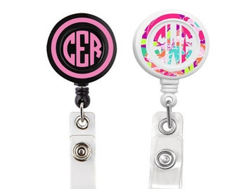 Retractable Badge Holder, Monogram Badge Reel, Personalized Badge Reel, badge reel,  Print Vinyl,  Badge Reels, Nurse Badge Reel, Lily Reel