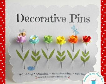 Embellishment pins Southwestern Quilting Pins for Pincushion Epingles d\u00e9coratives pinkeep Santa Fe fabric Sewer gift Cat Decorative Pins