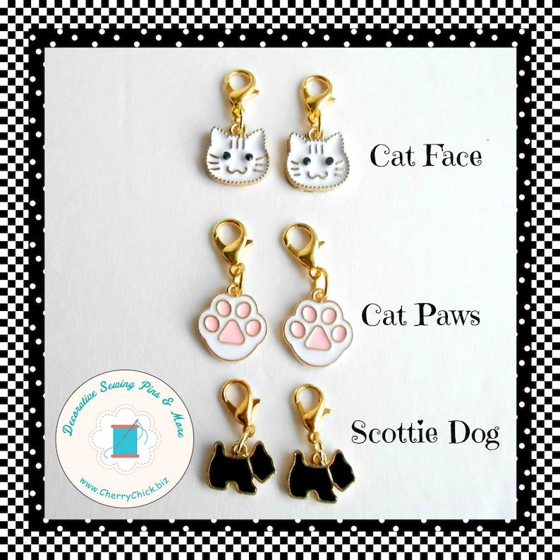 Scottie Dog zipper charm pair  Cat zipper pull pair  Cat Paw image 0
