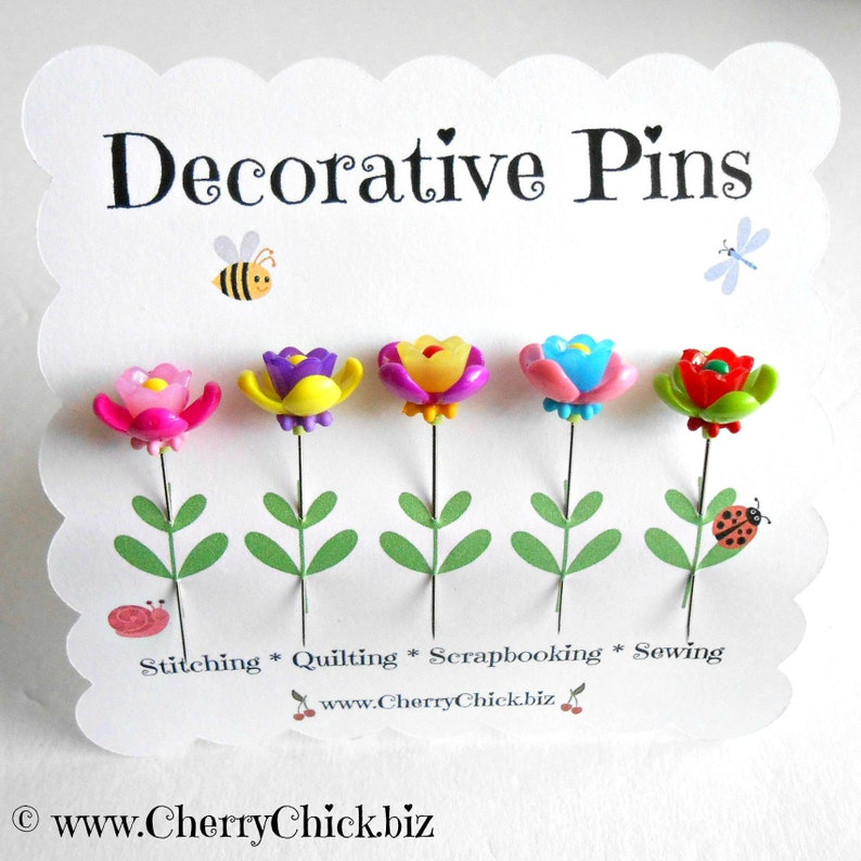 Sewing Pins  Fairy Garden Flowers  Gift for Quilters  image 0
