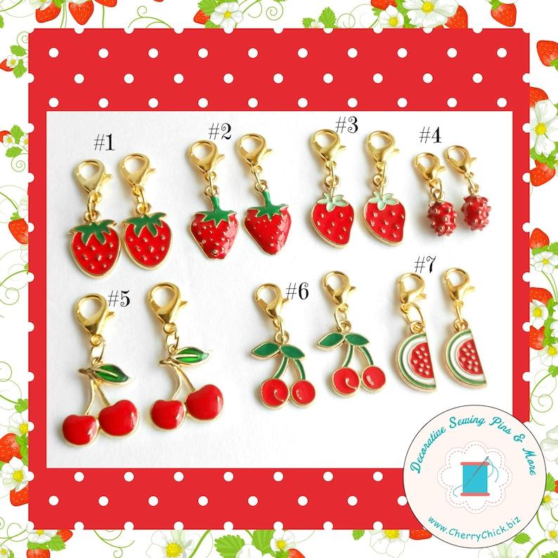 Strawberry zipper charm pair  Watermelon zipper pull pair  image 0