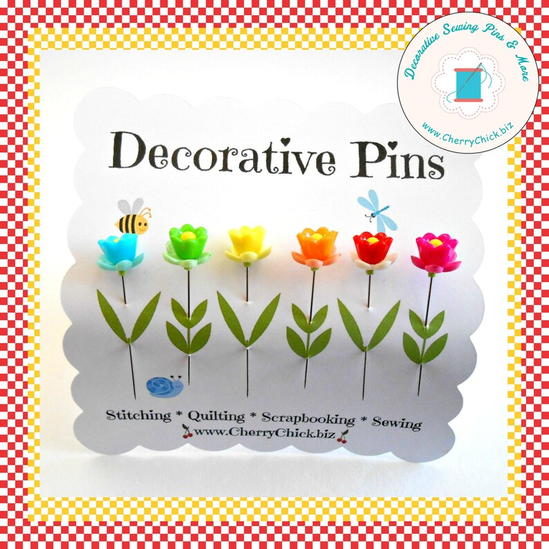 Decorative Sewing Pins  Rainbow Flower Sewing Pins  Sewing image 0