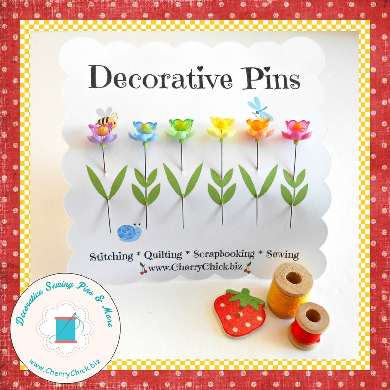 Sewing Pins  Rainbow Flower Sewing Pins  Decorative Sewing image 0