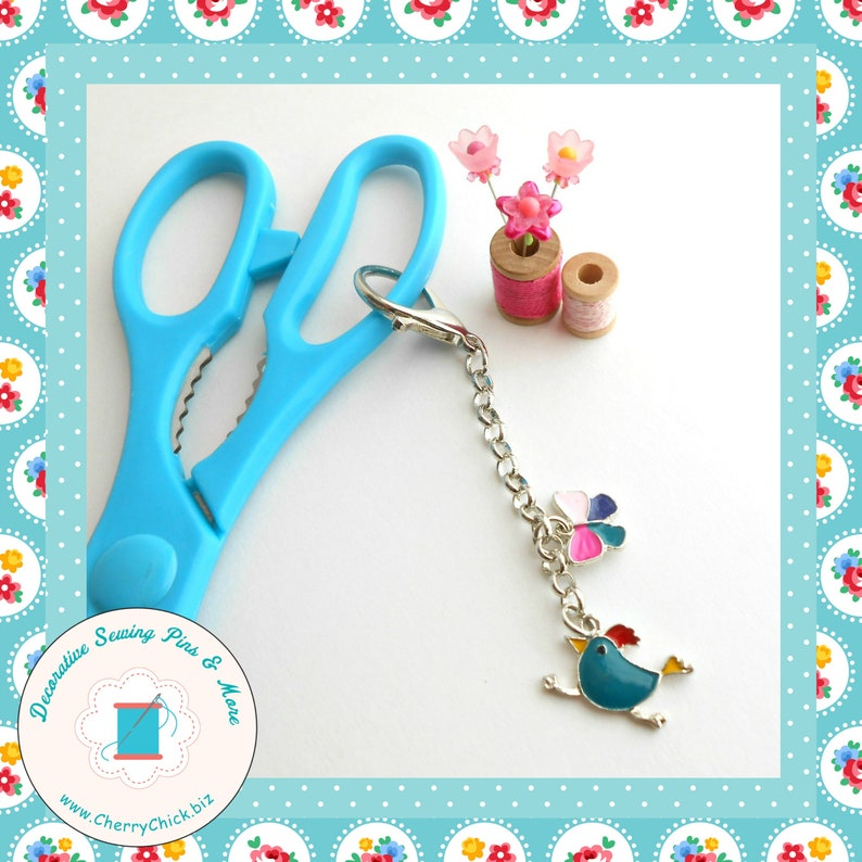 Bird Scissors Fob  Butterfly Scissors Fob  Gift for Quilter image 0