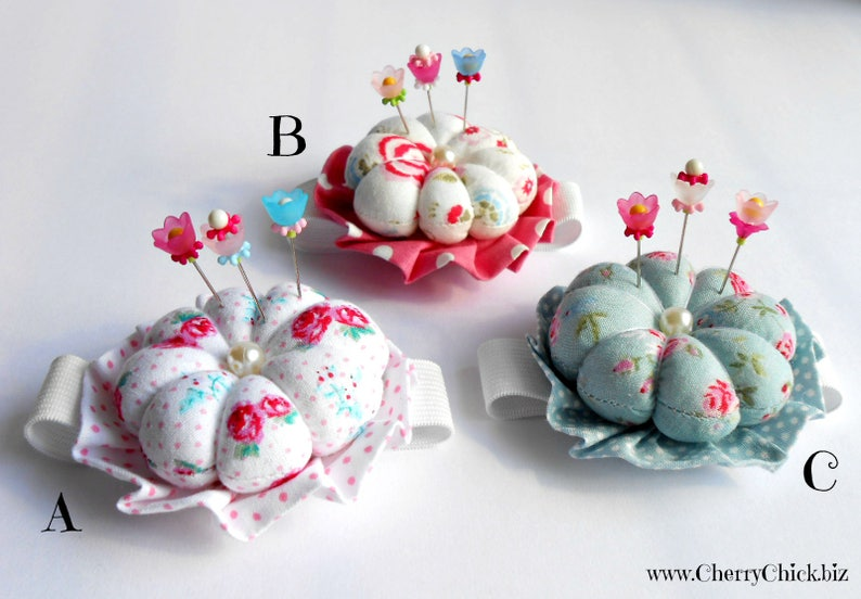 Wrist Pin cushion with Decorative Sewing Pins  Gift for image 0