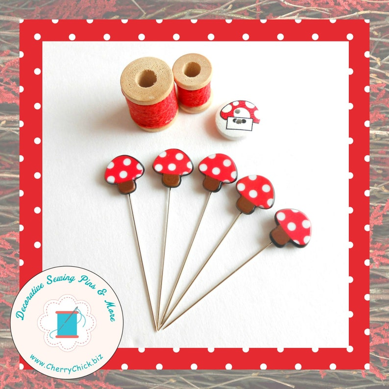 Mushroom Pins  Gift for Quilters  Decorative Pins  Sewing image 0