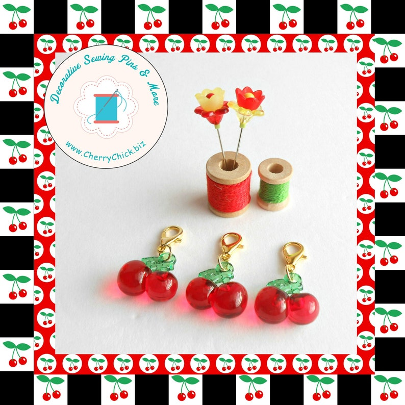 Cherry zipper charm  Cherry zipper pull  Cherry Planner image 0