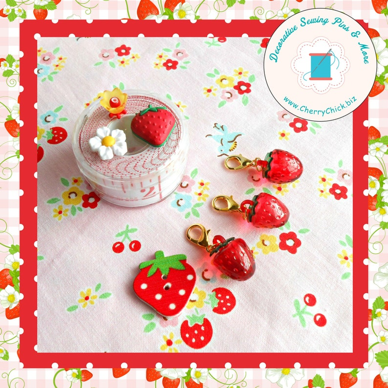 Strawberry zipper charm  Strawberry zipper pull  Strawberry image 0