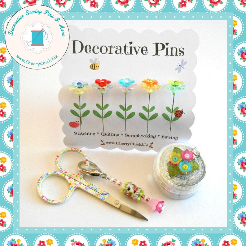 Flower Sewing Pins  Decorative Sewing Pins  Quilt Pins  image 0