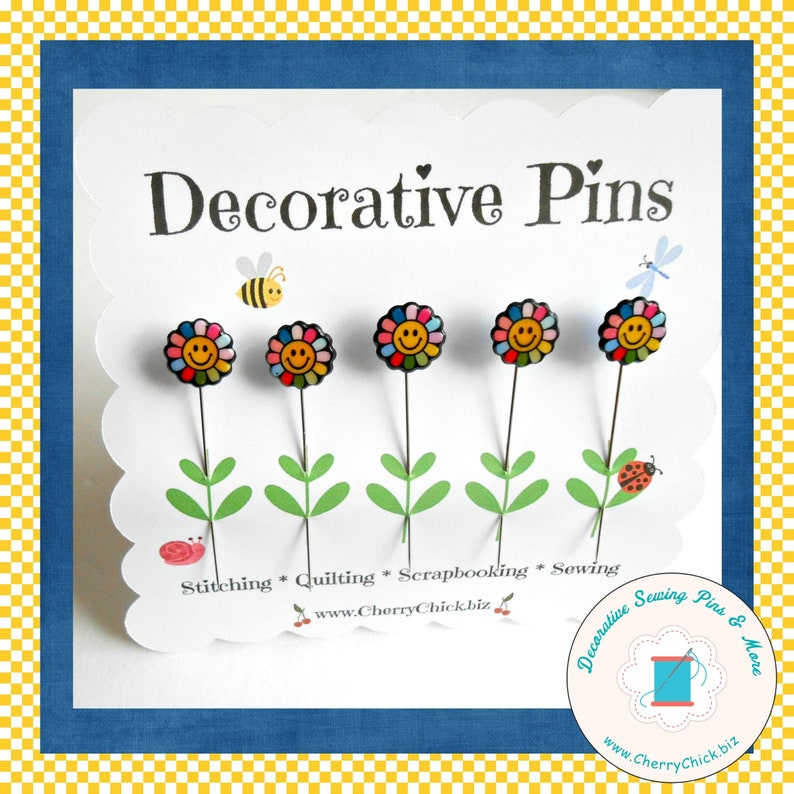 Happy Flower Sewing Pins  Gift for Quilters  Decorative image 0