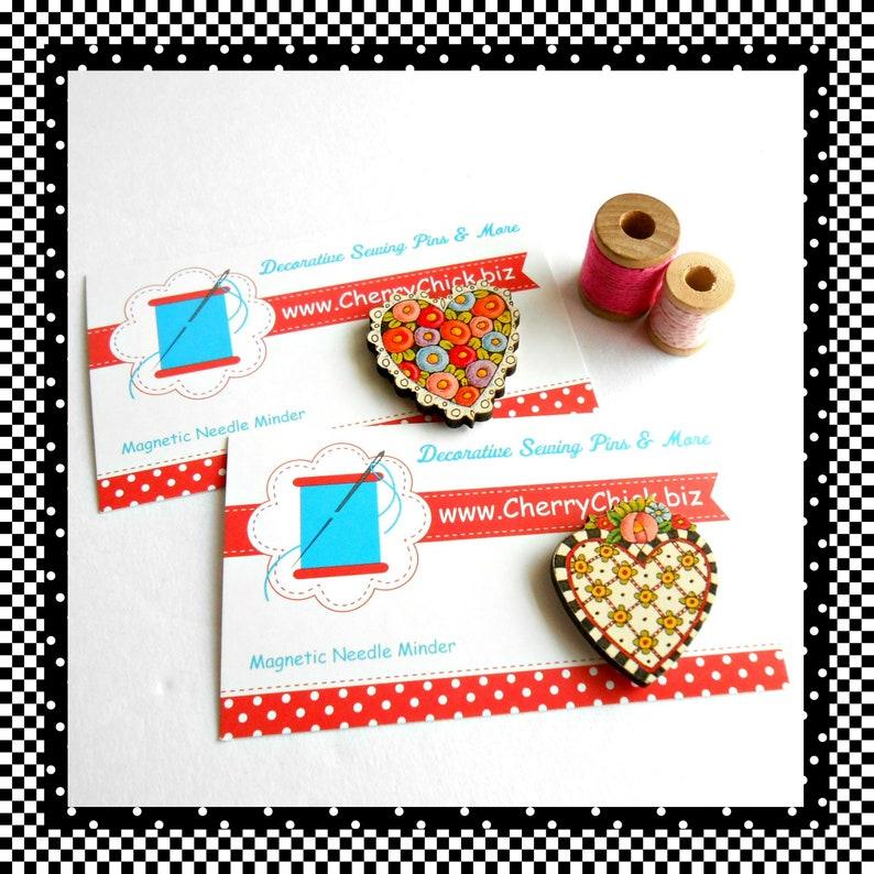 Heart needle Minder  Needle Keeper  Needle Magnet  Cross image 0