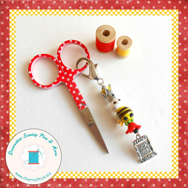 Bee Scissor Fob  Day Planner Charm  Bee Charm  Gift for image 0