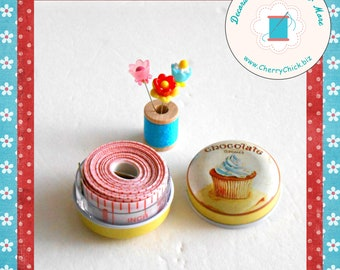 """Sewing Tape Measure in Tin - 79"""" Measuring Tape - Cupcake - Gift for Quilters - Gift for Seamstress - measuring tool - pocket tape measure"""