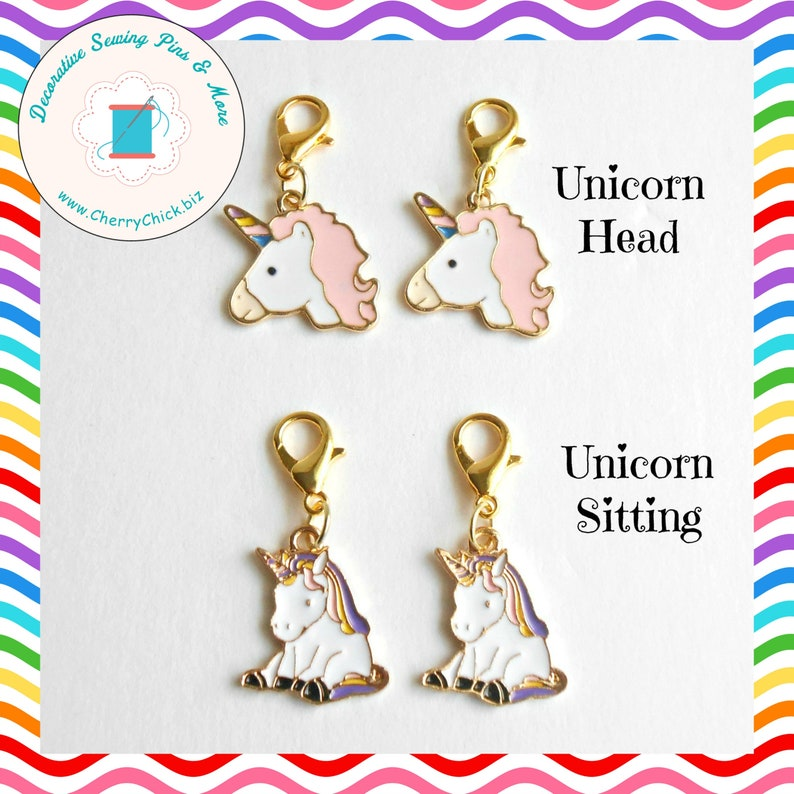 Unicorn zipper charm pair  Unicorn zipper pull pair  Unicorn image 0