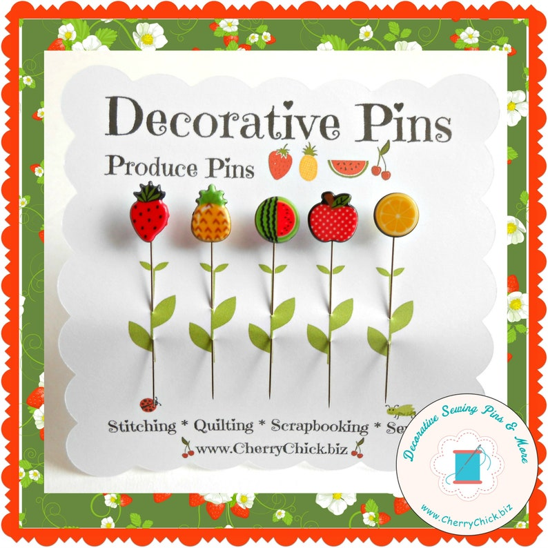 Fruit Sewing Pins  Gift for Quilters  Decorative Sewing Pins B - design