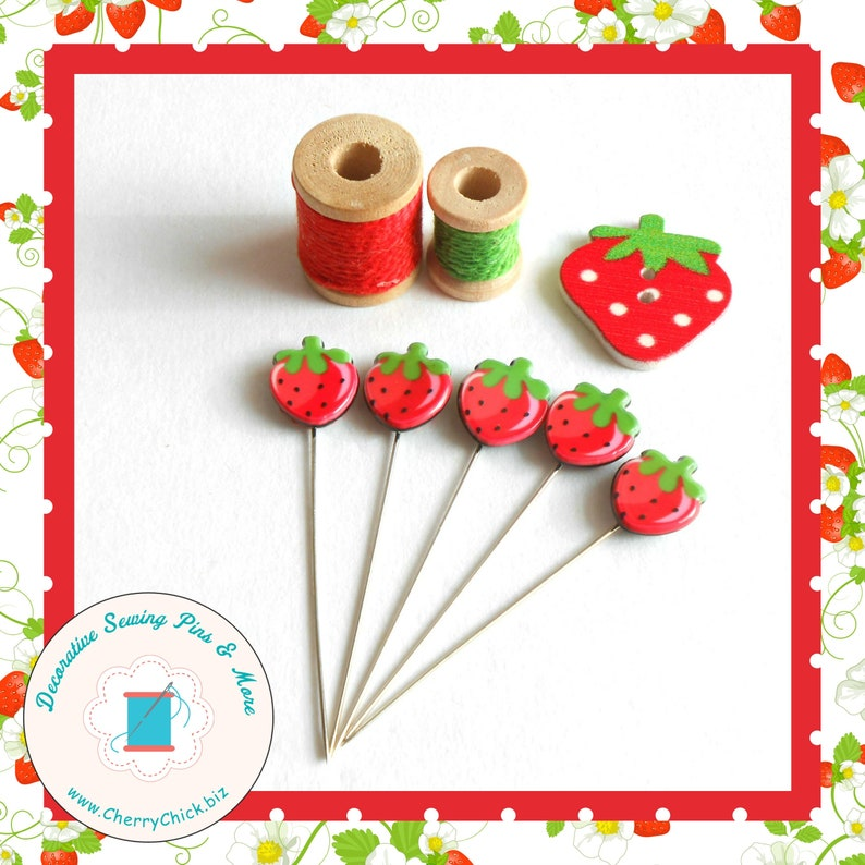 Strawberry Sewing Pins  Gift for Quilters  Decorative Sewing B - design