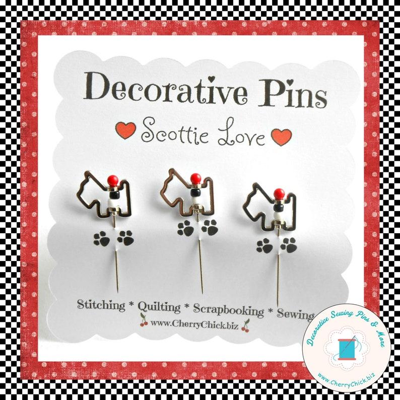 Sewing Pins  Scottie Dog Sewing Pins  Handmade Pins  Gift image 0