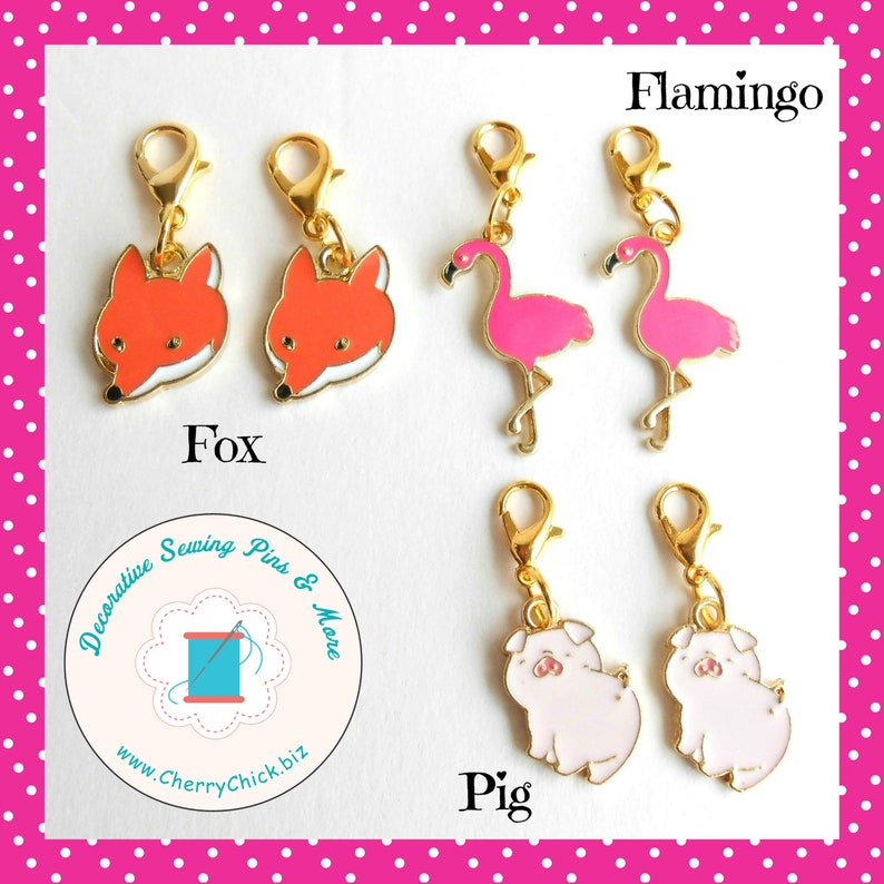 Fox zipper charm pair  Flamingo zipper pull pair  Pig zipper image 0