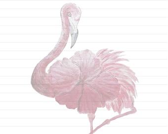 Flowered Flamingo, Letter Writing Sheets, Stationary, Digital Download,  Printable,  JW Printable,  Letter Writing,