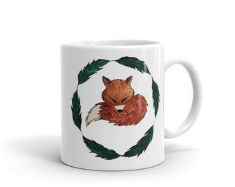 Fox Coffee Mug, Ceramic Mug, 11oz, Art by Kikajo