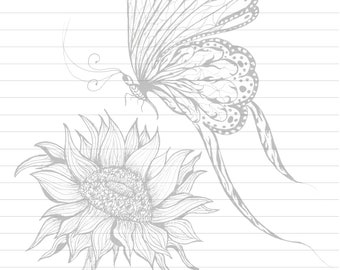 Butterfly, Sunflower, Letter Writing Sheets, Stationary, Digital Download, Floral,  Printable,  JW