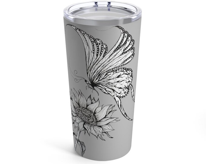 Featured listing image: Butterfly and Sunflower Tumbler 20oz