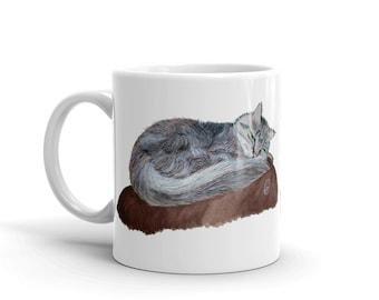 Cat Coffee Mug, Maincoon, Crazy Cat Lady, Cat Mom, 11 oz, Ceramic, Coffee Mug, Art by Kikajo