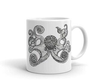 """Octopus Coffee Mug, Ceramic Mug, 11oz, """"Inky Octopus"""", Art by Kikajo"""