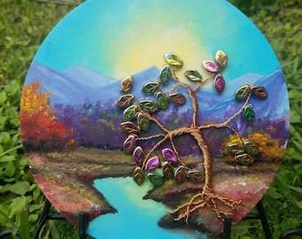 Autumn Twilight, Acrylic Landscape,  Hand painted on wood, Handmade Copper Tree,, Iridescent beaded leaves, Gift Idea