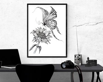 Butterfly, Sunflower,Printable Art, Instant Digital Download Art, Modern art prints, Art, Prints, Printable Artwork, Art by Kikajo