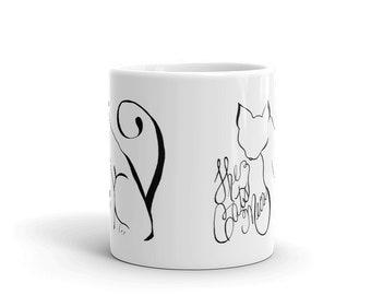 Cat Coffee Mug, Ceramic Mug,Feline, Crazy Cat Lady, 11oz, Art by Kikajo